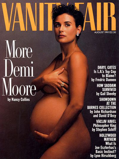 The original culture-busting nude of <strong>Demi Moore</strong>, seven months pregnant with daughter Scout, on Vanity Fair's August 1991 cover.