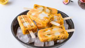 Lemon, coconut and passionfruit popsicles