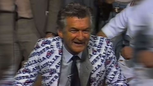 Then-Australian Prime Minister Bob Hawke celebrates the America's Cup win in September 26, 1983, unaware how the world came to nuclear war that day.