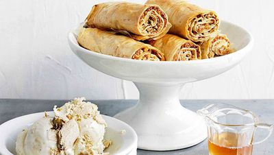"Recipe: <a href=""http://kitchen.nine.com.au/2016/05/16/17/59/baklava-fingers-with-honey-syrup-and-halva-icecream"" target=""_top"">Baklava fingers with honey syrup and halva ice-cream</a>"