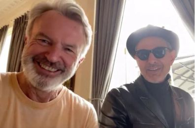 Sam Neill, Jeff Goldblum, Jurassic Park, co-stars, duet, sing, Instagram