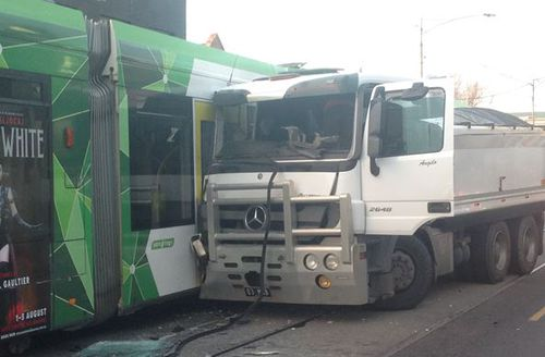 The crash caused delays on busy Sydney Road. Picture: Madeline Slattery
