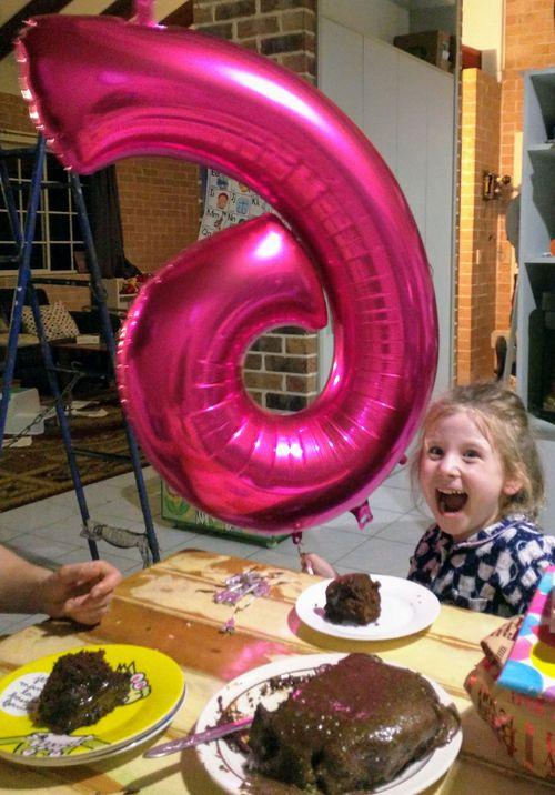 Violet Rickard celebrating her sixth birthday.