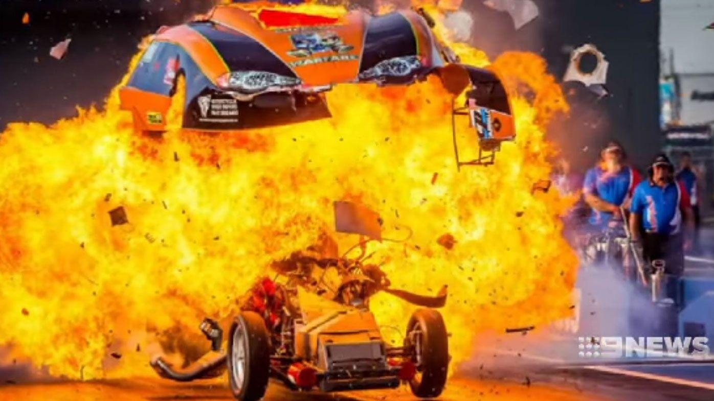 Begley's car explodes