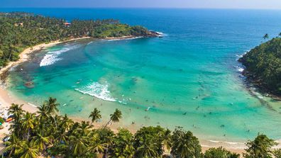 Hiriketiya in Dikwella is among the stunning surf beaches of Sri Lanka.
