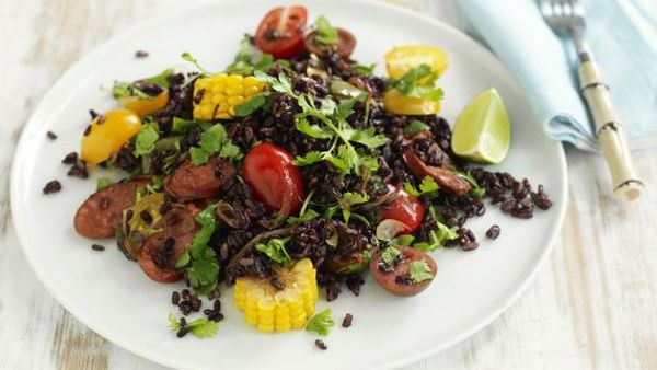 Warm Mexican rice salad