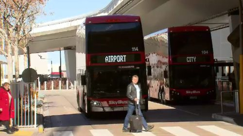 The SkyBus could be complemented by a rail link if the government's proposed rail link is realised. Picture: 9NEWS