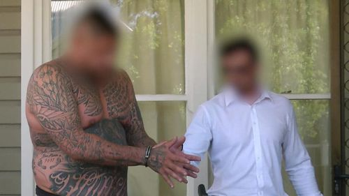 Les Mason being arrested in relation to large commercial drug supply. Picture: NSW Police