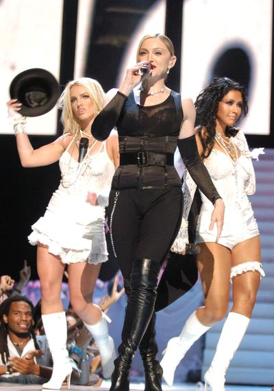 Madonna with Britney Spears and Christina Aguilera at the 2003 MTV Video Music Awards at Radio City Music Hall in New York City