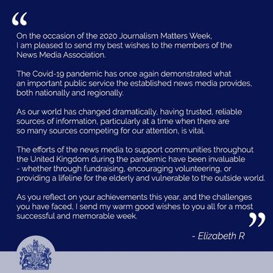 The Queen released a statement for Journalism Matters Week in the UK.