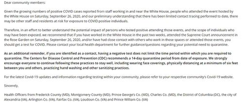 The letter sent out over the White House Rose Garden event.