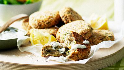 """Recipe: <a href=""""http://kitchen.nine.com.au/2016/05/16/13/47/salmon-cakes-with-caper-sauce"""" target=""""_top"""">Salmon cakes with caper sauce</a>"""