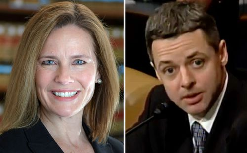 Amy Coney Barrett, left, and Brett Kavanagh are two judges among Trump's leading contenders for the Supreme Court vacancy. (Photos: AP).