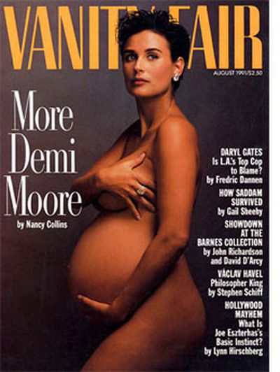 This 1991 <i><b>Vanity Fair</b></i> cover had many conservatives up in arms. It was the first time a pregnant celebrity had ever posed nude for a magazine.