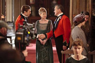 Dan Stevens (Matthew Crawley), newcomer Zoe Boyle (Lavinia Swire) and Hugh Bonneville (Robert Crawley).