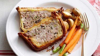 """Recipe: <a href=""""http://kitchen.nine.com.au/2016/05/16/10/23/chicken-and-mushroom-meatloaf-pie"""" target=""""_top"""">Chicken and mushroom meatloaf pie</a>"""