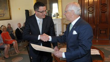 Daniel Andrews is sworn in by Victorian governor Alex Chernov. (AAP)