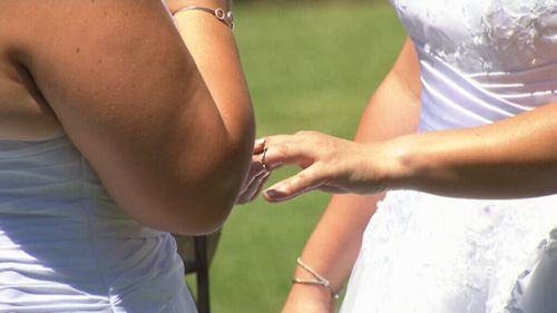 The couple exchanged rings, like at any other wedding