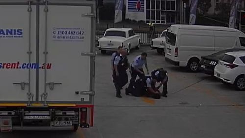 A woman allegedly bit a police officer during an arrest.