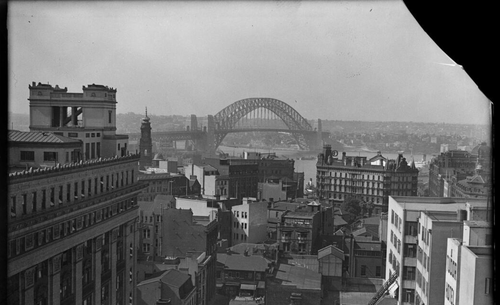 Sydney Harbour Bridge from the city centre, Sydney, 16 January 1933.