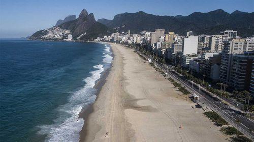 A normally packed Ipanema Beach in Rio de Janeiro lies empty.