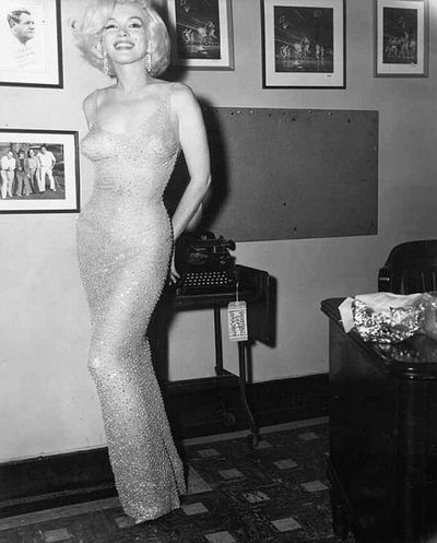 "Marilyn Monroe in "" that dress"" in 1962"
