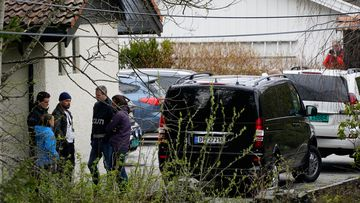 Police investigators at the home in Lorenskog near Oslo, Norway, after Anne-Elisabeth Hagen's husband Tom Hagen was arrested for investigation into the disappearance of his wife