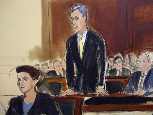A courtroom sketch of Michael Cohen.