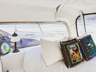 Tiny home converted from 1966 Greyhound bus for sale