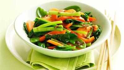 """Recipe:&nbsp;<a href=""""http://kitchen.nine.com.au/2016/05/16/14/50/steamed-asian-vegies"""" target=""""_top"""">Steamed asian vegies</a>"""