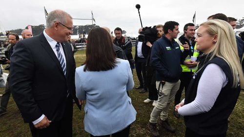 Jessica Whelan (right) with Scott Morrison earlier today.