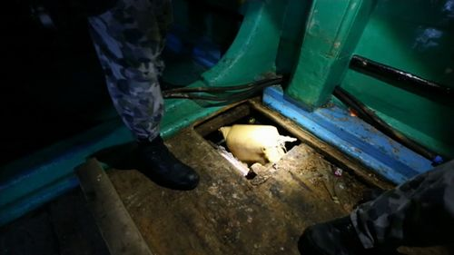 Below deck, officers found bags of narcotics. (Royal Australian Navy)