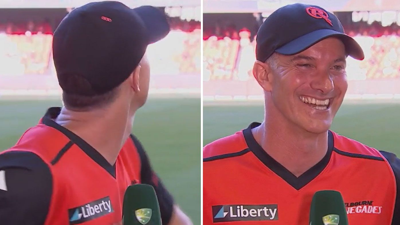 Michael Klinger was pleased with himself after taking a sensational catch mid-interview. (Twitter)