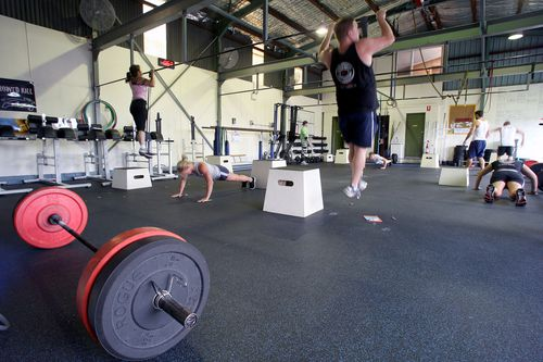 People training at a CrossFit gym in Wollongong, New South Wales.