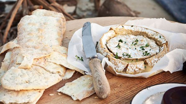 Warm whole Camembert with quince paste & flatbread
