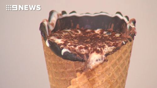 Four layers of thick chocolate prevent hot liquid from seeping through the cone. (9NEWS)