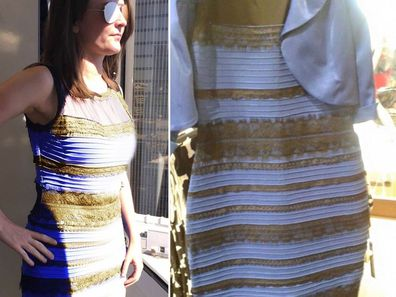 The dress in two different types of light (left) and the original photo (right) which caused so much debate.