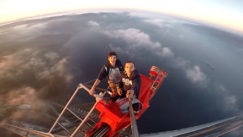 This selfie captured from great heights shows the duo do not fear heights. (Social Media)
