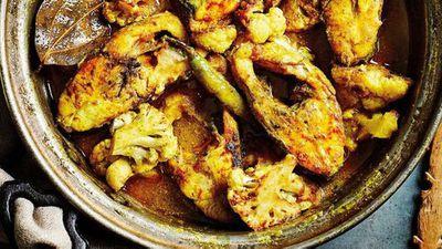"Recipe: <a href=""https://kitchen.nine.com.au/2017/11/14/13/32/anjum-anands-bengali-sea-bream-with-cauliflower"" target=""_top"">Anjum Anand's one-pan Bengali sea bream with cauliflower</a>"
