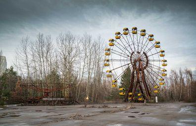 A ferris wheel lies eerily abandoned in Chernobyl