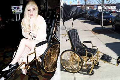 "As Gaga recovered from hip surgery last year, she decided not to roll around in just any ordinary wheelchair. Instead, she commissioned Ken Borochov from luxury brand Mordekai to make her a 24-carat gold-plated wheelchair.<br/><br/>Designer Ken created the ""chariot"" in one week, taking inspiration from a throne. Ken wouldn't disclose how much Gaga paid for the wheelchair, but apparently the chair's weight of gold costs around $2800 alone.<br/><br/>Images: Twitter/Splash"