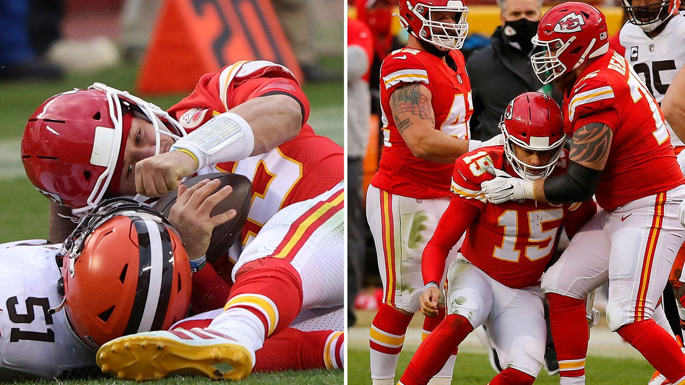 Kansas City quarterback Patrick Mahomes goes down with concussion in NFL playoff