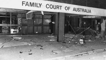 The foyer of the Family Court littered with debris after it was bombed on April 15, 1984.