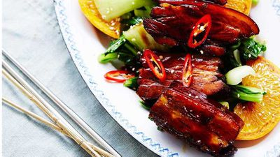 """Recipe:&nbsp;<a href=""""http://kitchen.nine.com.au/2017/06/08/14/01/caramelised-pork-belly-in-chinese-master-stock-with-chilli-and-orange"""" target=""""_top"""">Caramelised pork belly in Chinese master stock with chilli and orange</a>"""