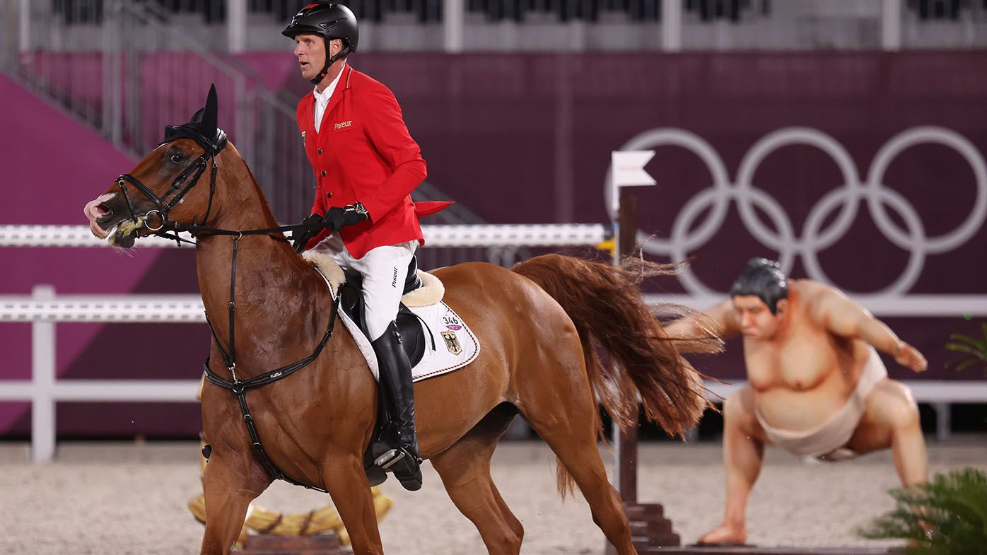 Tokyo Olympics 2021: 'Spooky' sumo on equestrian jumping obstacle scaring horses