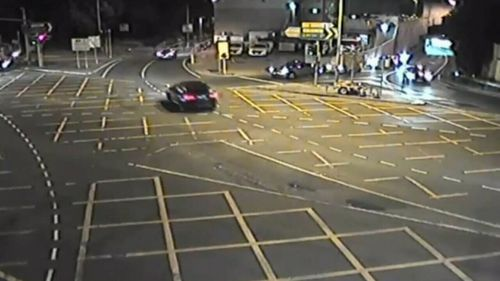 Police are appealing for information about a road rage incident where a Holden Astra was attacked with a crowbar before being rammed into a concrete wall (Supplied).