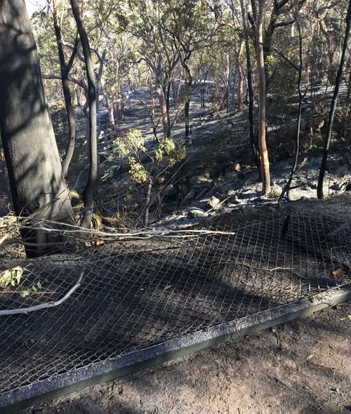The burnt out fireground after the blaze went through. (Luke Cooper)