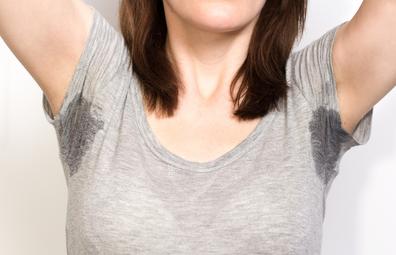 Woman underarm sweat
