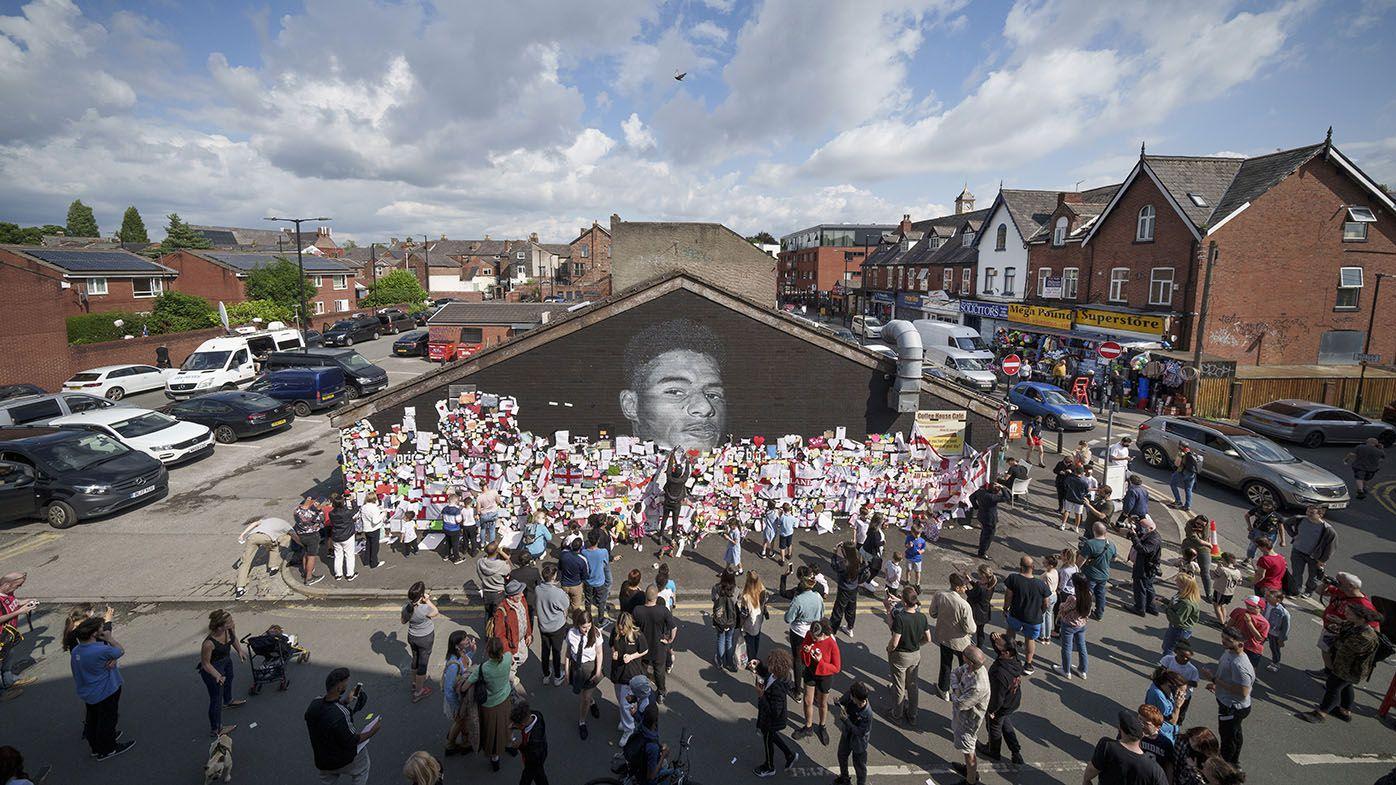 Marcus Rashford mural becomes anti-racism shrine after Euro penalty shootout backlash