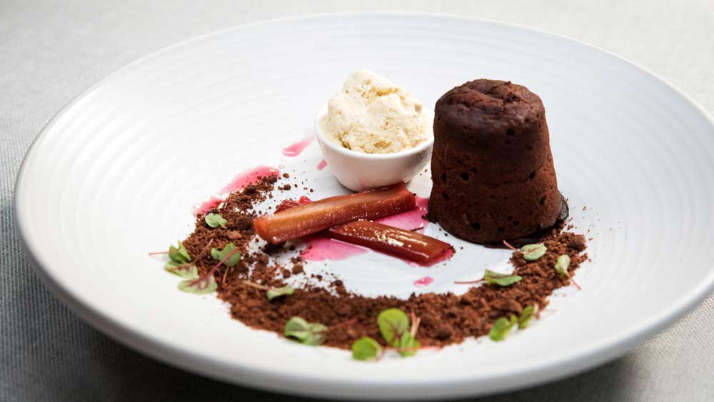 The Butler's Chocolate fondant with poached rhubarb and rhubarb ice cream